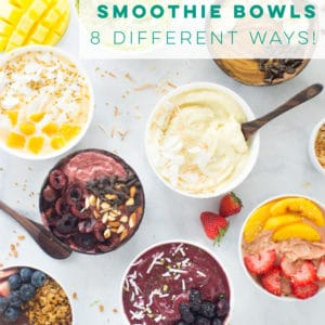 Smoothie Bowls (8 Different Ways!) -- Smoothie bowls are the BEST way to start your day! Healthy and vegan smoothies that are so thick you can eat them with a spoon. Add all the toppings you design for a fun, vegan breakfast. #smoothiebowls #vegan #rawvegan #healthy #detox #acaibowl | Mindful Avocado
