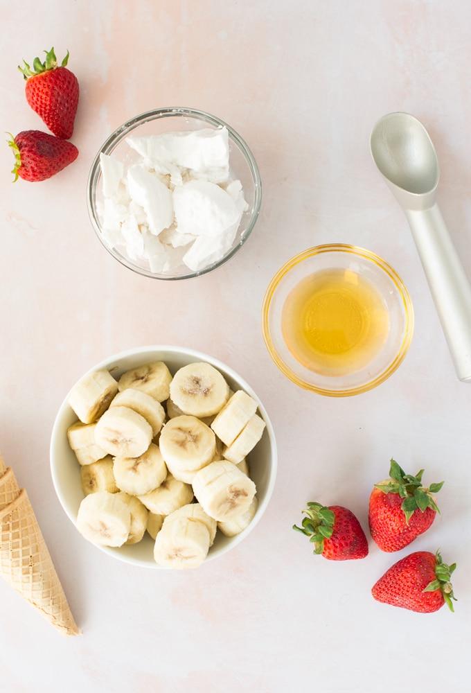 ingredients for vegan strawberry banana nice cream