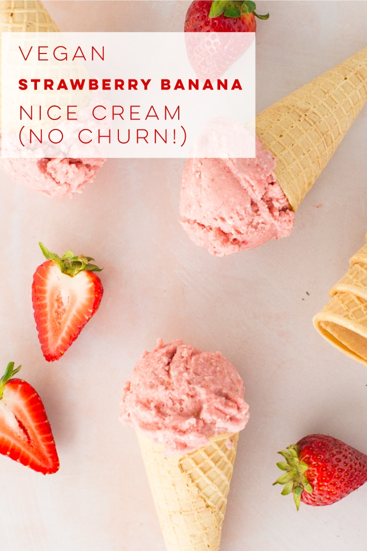 Vegan strawberry banana nice cream is the perfect dairy-free ice cream! Bananas, strawberries, coconut milk, and agave are blended up to make this ice cream without any ice cream maker! #nicecream #veganicecream #healthydessert #strawberrybanana | Mindful Avocado