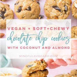 This easy and healthy vegan cookie recipe is perfect for every occasion! Chocolate chip cookies with almonds and coconut! #vegan #veganbaking #vegancookies #plantbased #almondjoy #cookies #easy #healthy | Mindful Avocado