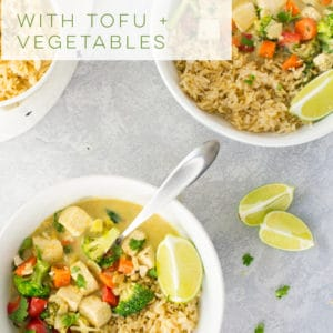 Vegan Thai green curry with tofu and veggies! This coconut milk based curry sauce is so easy to make and is the perfect healthy dinner recipe. Pair with rice for an authentic Thai dish! #greencurry #vegan #vegetarian #healthy #dinner | Mindful Avocado