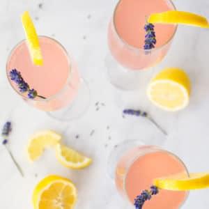 overhead lavender lemonade mimosas