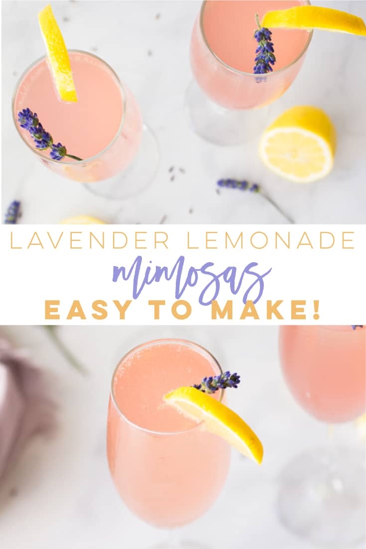 Lavender Lemonade Mimosas -- This mimosa recipe is so EASY to make and perfect for Summer brunch! Champagne, lemonade and a homemade lavender simple syrup are all it takes to make this alcoholic beverage. #mimosas #mimosarecipe #summermimosa | Mindful Avocado
