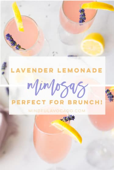 When life hands you lemons, make lavender lemonade mimosas! Champagne, lemonade, and a homemade lavender simple syrup are all you need to make this mimosa recipe #mimosas #mimosarecipe #summermimosa | Mindful Avocado