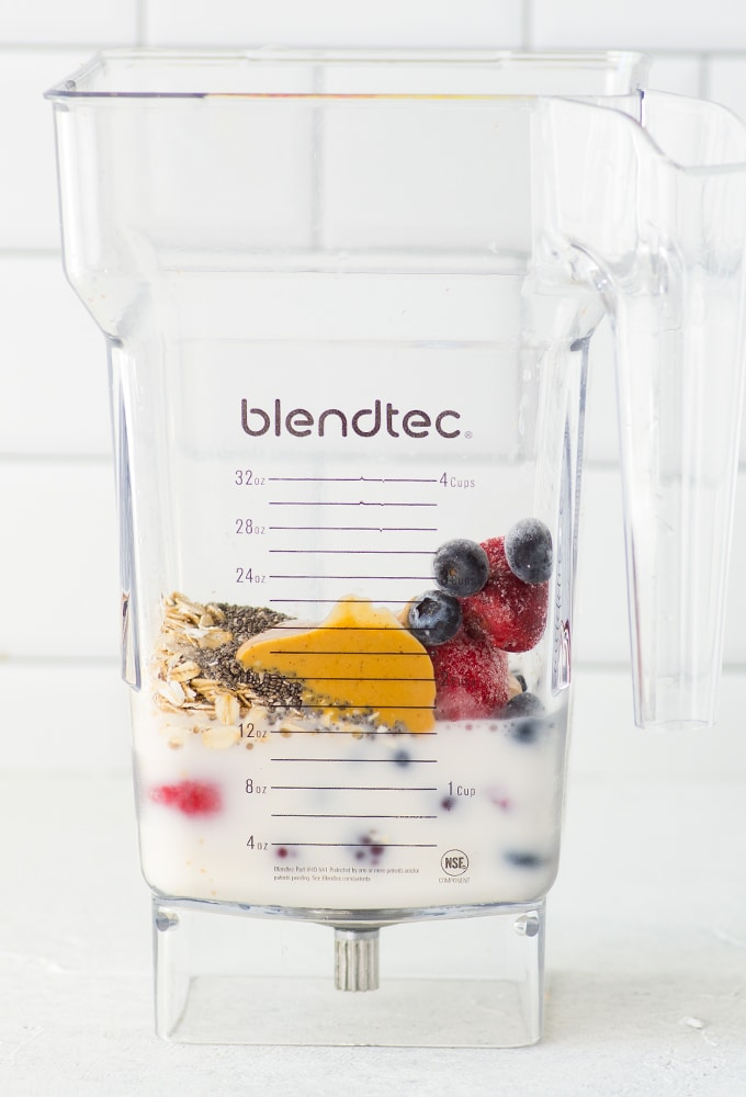 ingredients for smoothie in blender