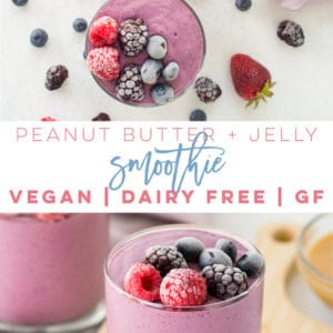 Vegan Peanut Butter and Jelly Smoothie - So easy to make and only requires 6 ingredients! Frozen berries, peanut butter, almond milk, oats, chia seeds, and sweetener is all it takes to make this delicious healthy smoothie recipe. No banana required! #smoothie #vegan #mealreplacement #healthy #breakfast #pbandj | Mindful Avocado