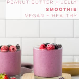 Get into back to school mode with this quick and easy breakfast recipe! PB and J smoothie that is so delicious and healthy. #smoothie #vegan #mealreplacement #healthy #breakfast #pbandj | Mindful Avocado