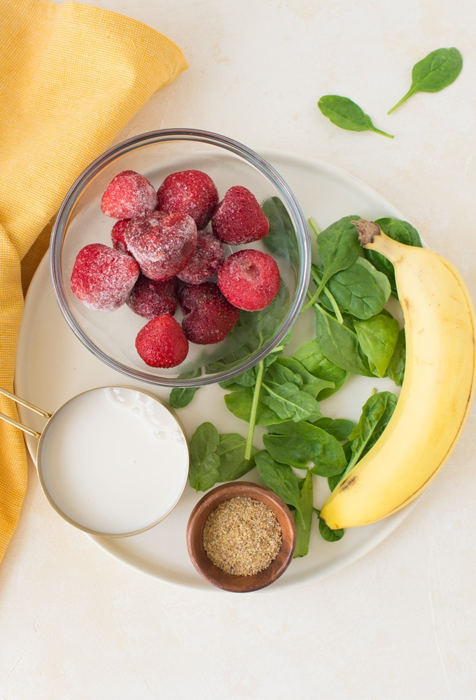 ingredients for vegan strawberry banana smoothie