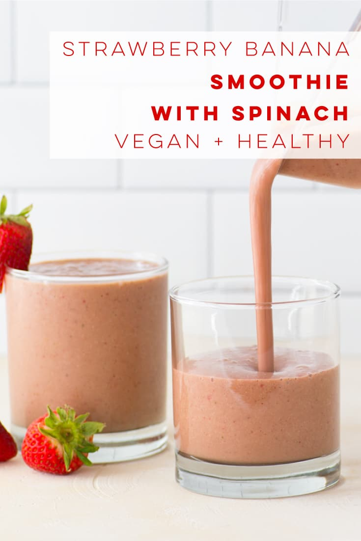 This healthy vegan green smoothie is flavored with strawberries and bananas! Perfect dairy-free breakfast or snack. #smoothie #strawberrybanana #breakfast #vegan #plantbased | Mindful Avocado