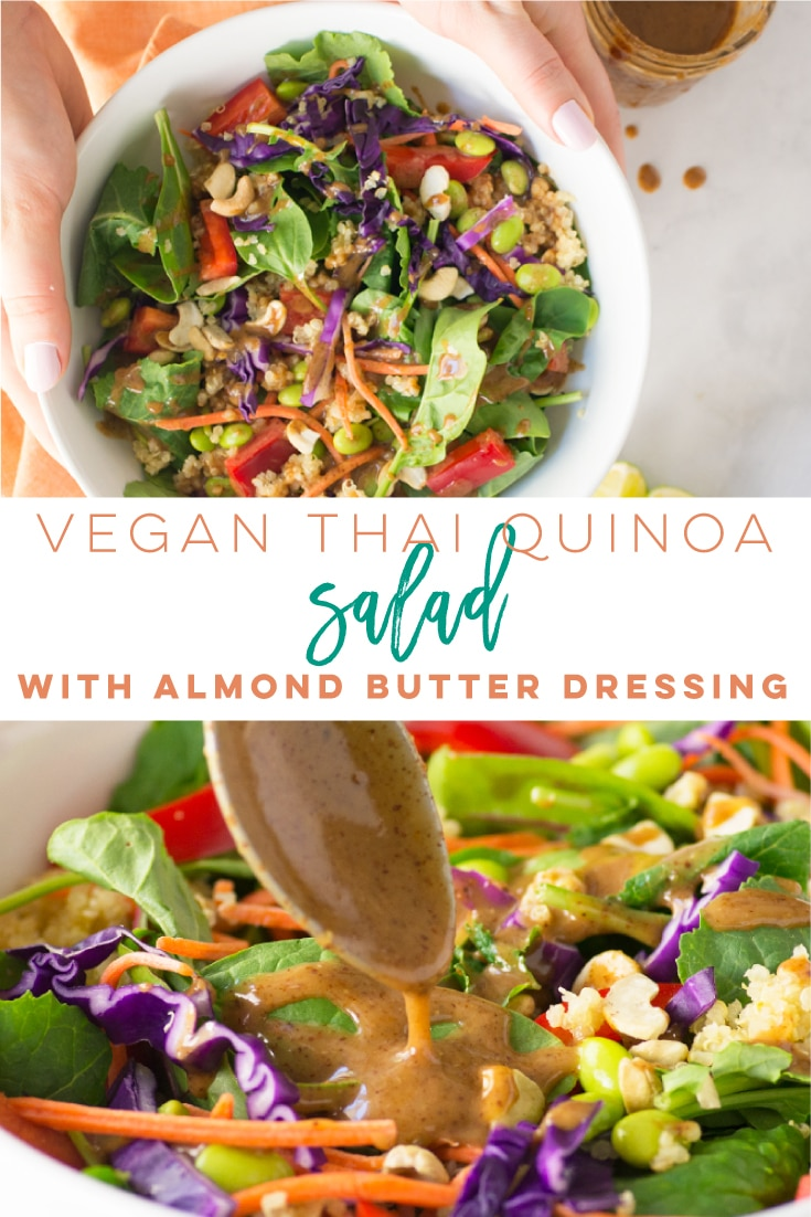 Vegan Thai quinoa salad with a delicious almond butter dressing is so easy to make and is the perfect healthy lunch or dinner! Fluffy quinoa with edamame, bell pepper, carrots, cabbage, and chopped cashews. The dressing tastes just like an amazon peanut sauce! Perfect for meal prep too! #vegan #salad #thai #quinoa #healthy #veganlunch | Mindful Avocado