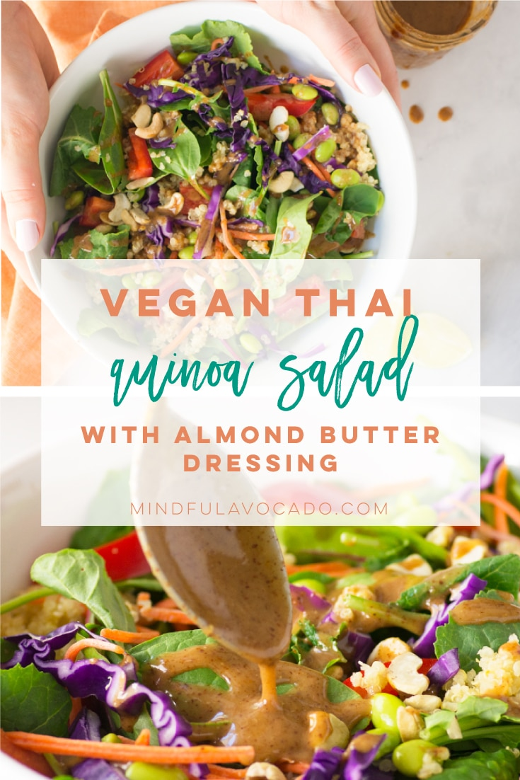 Thai quinoa salad with a homemade almond butter dressing. So easy to make and is perfect for meal prepping. #vegan #salad #thai #quinoa #healthy #veganlunch | Mindful Avocado