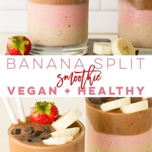 Vegan Banana Split Smoothie -- Get a taste of this classic dessert in a smoothie recipe! Layers of banana, strawberry, and chocolate make this smoothie taste like a milkshake! Healthy and perfect for breakfast or a snack. #smoothie #vegansmoothie #bananasplit #strawberrybanana | Mindful Avocado