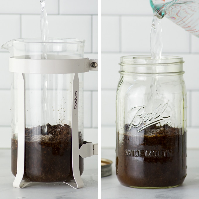how to make cold brew coffee two different methods - french press and a mason jar