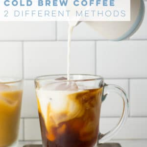 Learn how to make cold brew coffee at home with this simple recipe! Only requires coffee beans and water. Add plant-based milk for a delicious vegan coffee! #coldbrewcoffee #coldbrew #vegan #frenchpress | Mindful Avocado