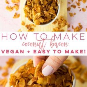 Easy Vegan Coconut Bacon Recipe -- Learn how to make coconut bacon! Vegan bacon bits that are perfect for salads, or a healthy salty snack. #coconutbacon #veganbacon | Mindful Avocado