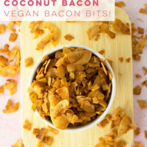 Replace traditional bacon bits with a plant based recipe! Vegan coconut bacon is salty, crispy, and perfect for salads or snacking! #coconutbacon #veganbacon | Mindful Avocado