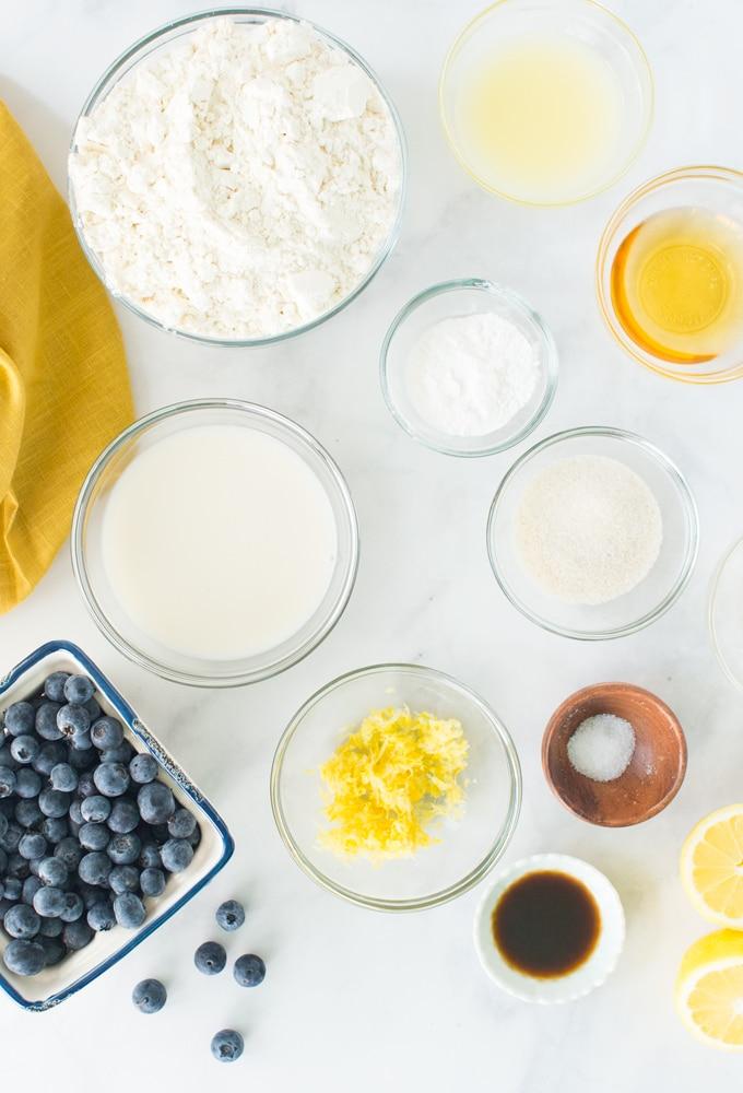 ingredients for vegan lemon blueberry scones