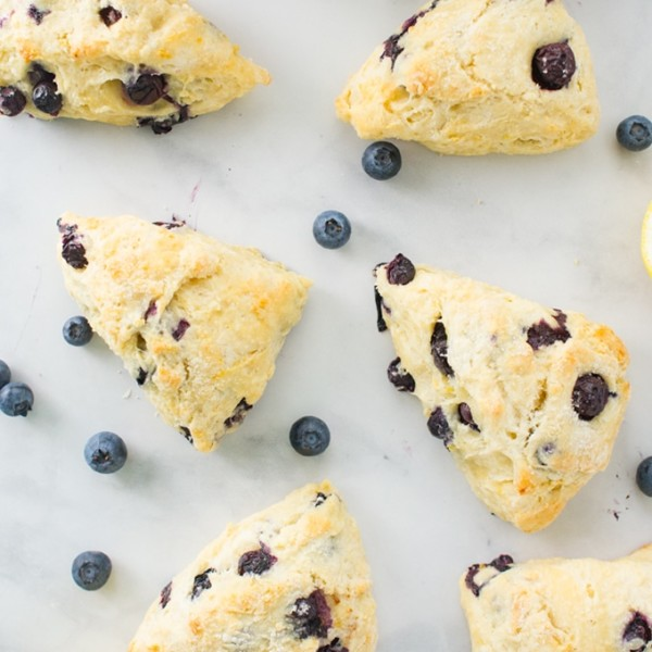 vegan lemon blueberry scones with fresh blueberries