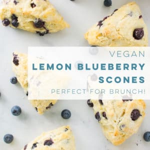 Vegan scones are so easy to make and healthy! The flavor combo of lemon and blueberry is the BEST! Perfect recipe to use your Summer berries! #scones #lemonblueberry #veganbrunch #veganbaking | Mindful Avocado