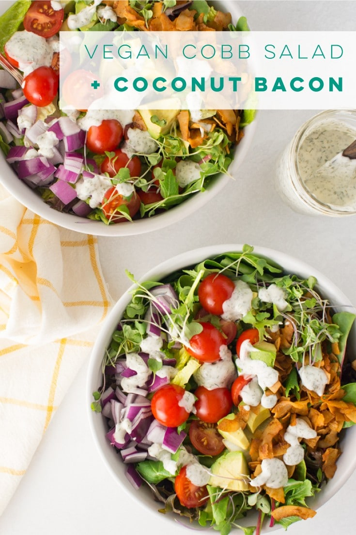 Vegan cobb salad is the PERFECT lunch recipe! Fresh greens, tomatoes, onions, avocado, coconut bacon, and a homemade ranch dressing thats cashew-free! #vegansalad #healthysalad #cobbsalad #coconutbacon | Mindful Avocado