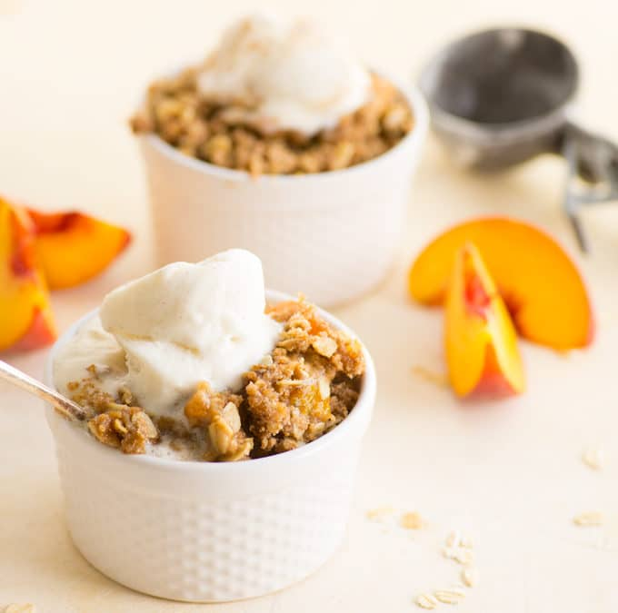 Easy Vegan Peach Crisp