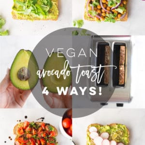 Avocado Toast Recipes -- All vegan and so easy to make, these avocado toast flavors are the BEST healthy breakfast or snack! Lemon arugula, tomato and balsamic, BBQ chickpeas, and super seedy avocado toast. #avocadotoast #veganavocadotoast #veganbreakfast #healthybreakfast | Mindful Avocado