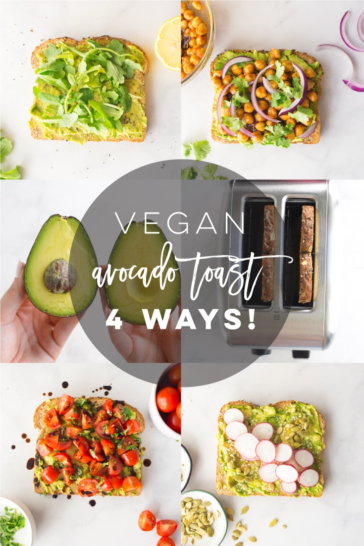 Vegan Avocado Toast - 4 Ways! -- Learn all the tips and tricks to making the BEST avocado toast! Plus 4 healthy flavors to step up your avocado toast game. This is the perfect recipe for a healthy breakfast or snack! So easy to make too! #avocadotoast #veganavocadotoast #veganbreakfast #healthybreakfast | Mindful Avocado