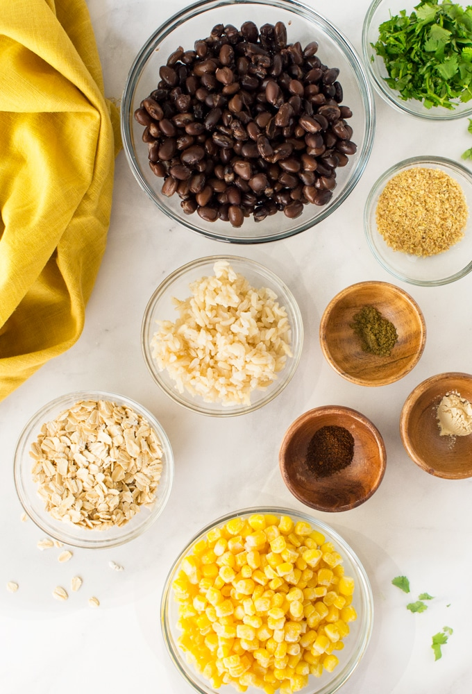 ingredients for black bean and corn burgers