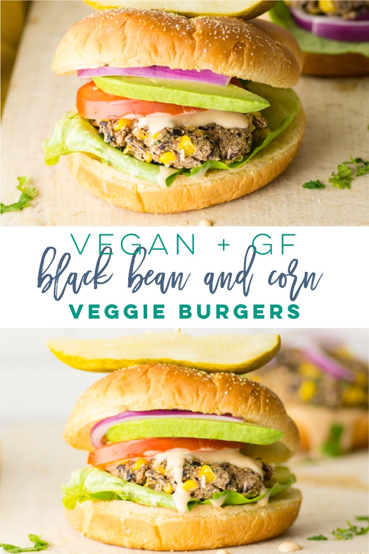 Vegan Black Bean and Corn Burger -- This plant-based and gluten-free veggie burger recipe is full of Mexican flavors! Perfect easy weeknight meal, or a delicious and quick dinner. #veganburger #veggieburger #cornandblackbean #plantbased | Mindful Avocado