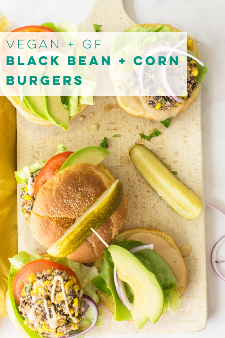 Vegan black bean and corn veggie burger recipe is so easy to make and full of healthy ingredients! Top with your favorite toppings such as avocado, red onion, and tomato, for a delicious dinner. #veggieburger #veganburger #vegandinner #blackbeans #corn | Mindful Avocado