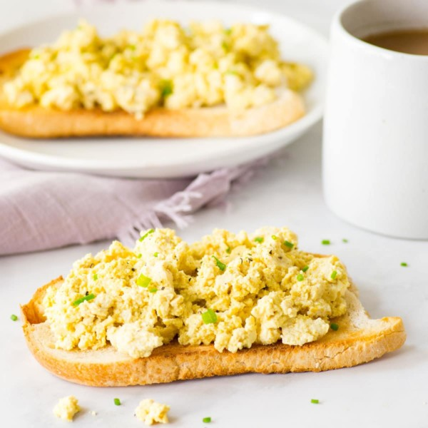vegan tofu scramble on sourdough bread