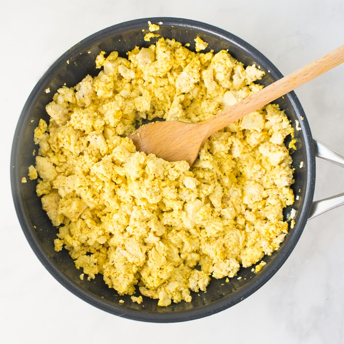 tofu scramble in a pan