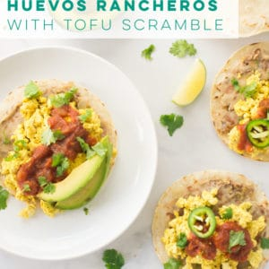 Vegan huevos rancheros is a quick and easy breakfast recipe. Perfect savory breakfast! #veganbreakfast #huevosrancheros #savorybreakfast #tofuscramble | Mindful Avocado