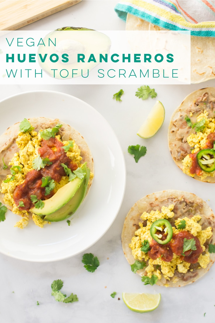 Vegan huevos rancheros is a quick and easy breakfast recipe. Perfect savory breakfast! #veganbreakfast #huevosrancheros #savorybreakfast #tofuscramble | Mindful Avocado