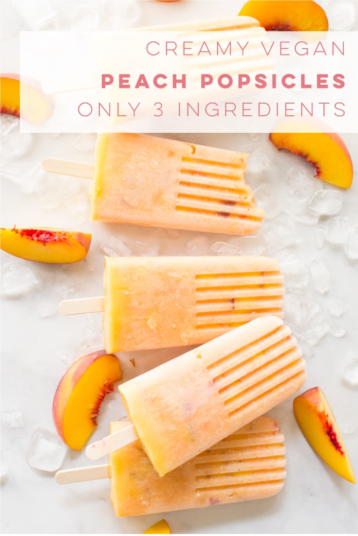 Homemade vegan peach popsicle recipe is so easy to make and healthy! Only requiring 3 ingredients, this popsicle recipe is healthy and dairy-free! #peachpopsicles #popsiclerecipes #veganpopsicles #summerdessert #vegan | Mindful Avocado