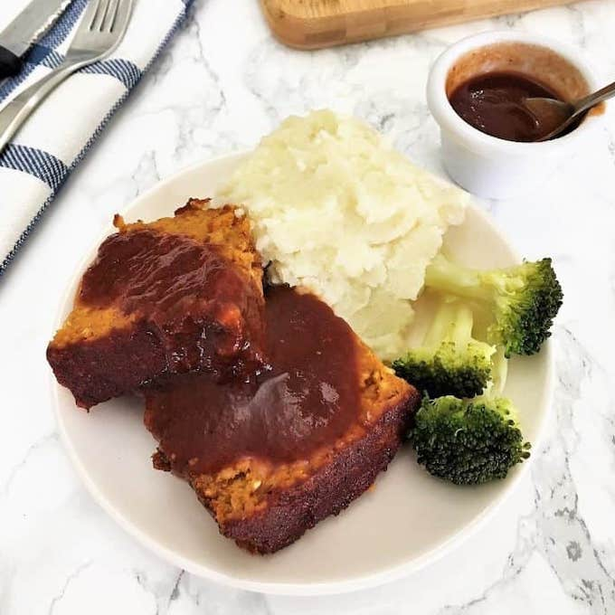 Chickpea Meatloaf with smoked maple glaze