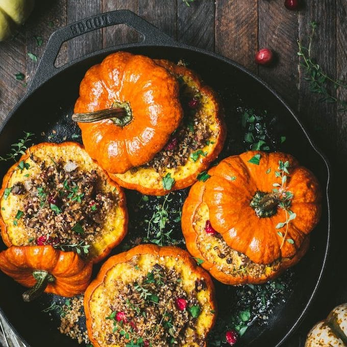 stuffed mini pumpkin with wild rice and mushrooms