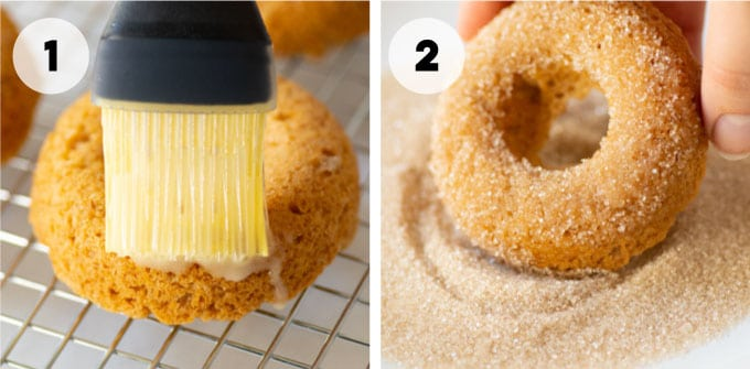 brushing butter onto apple cider donut and dipping it in cinnamon sugar