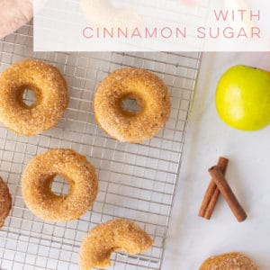 Vegan baked apple cider donuts are so EASY to make and taste just like Fall! Soft and fluffy vegan donuts topped with cinnamon sugar! #vegandonuts #veganbaking #applecider #falldesserts #appleciderdonuts | Mindful Avocado