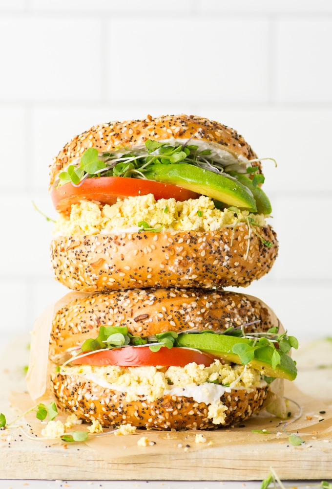 vegan breakfast sandwiches stacked