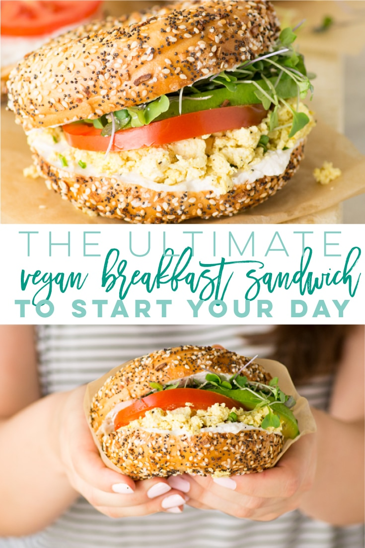 The ULTIMATE Vegan Breakfast Sandwich -- So easy to make and only requires a few ingredients! Bagel loaded with cream cheese, tofu scramble, avocado, tomato, and sprouts. Perfect breakfast or brunch to start your mornings right! #vegan #breakfast #breakfastsandwich #veganbreakfastsandwich #tofuscramble | Mindful Avocado