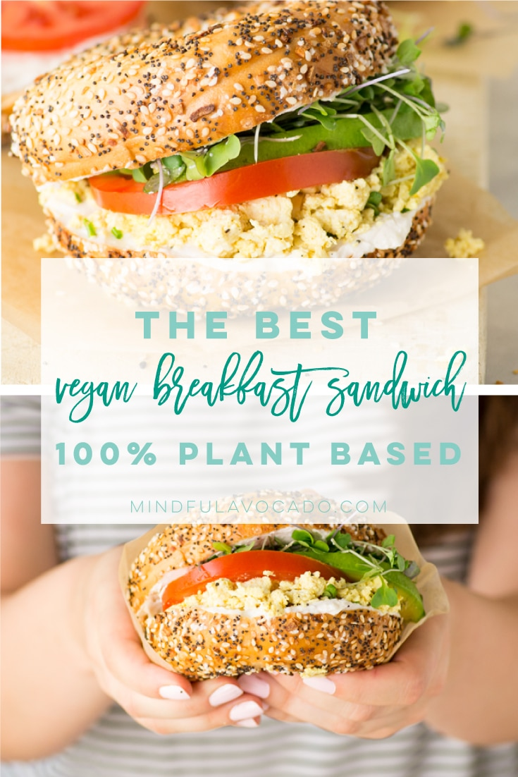 Vegan breakfast sandwich is the BEST savory breakfast recipe! So easy to make and the most comforting meal. #vegan #breakfast #breakfastsandwich #veganbreakfastsandwich #tofuscramble | Mindful Avocado