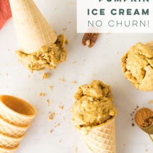 Vegan pumpkin spice ice cream is the BEST Fall dessert recipe! Made with frozen bananas, coconut milk, pumpkin puree, and pumpkin pie spices, this healthy dessert is beyond delicious! #nicecream #veganicecream #pumpkinspice #nochurnicecream #dairyfree #vegan | Mindful Avocado