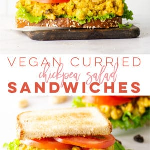 Vegan Curried Chickpea Salad Sandwich -- This vegan sandwich recipe is LOADED with healthy ingredients and so easy to make. Try this Indian-inspired sandwich filler for your next plant-based lunch! #veganlunch #vegansandwich #chickpeasandwich #chickpeasalad | Mindful Avocado