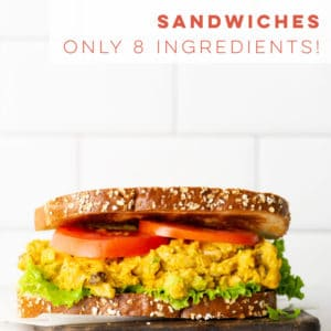 Curried chickpea salad sandwich is a easy and healthy lunch. Chickpeas mixed with vegan mayo, curry, celery, cashews, and raisins. This vegan sandwich recipe is a must try! #veganlunch #vegansandwich #chickpeasandwich #chickpeasalad   Mindful Avocado