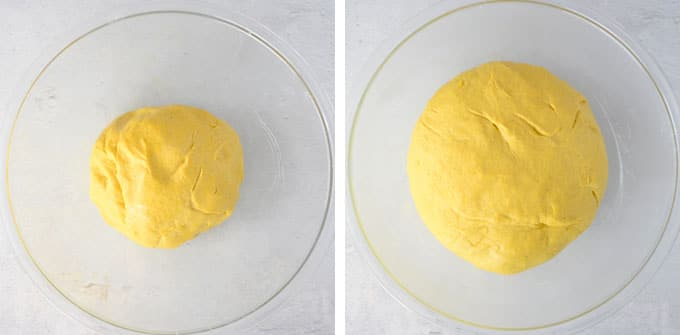 cinnamon roll dough in mixing bowl before and after rising