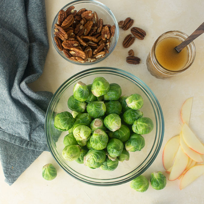 ingredients for shaved brussel sprouts salad