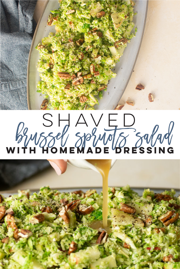 Shaved brussel sprout salad -- This quick and easy vegan side dish recipe is so simple yet crazy delicious. Shaved brussel sprouts with pecans and apples all mixed with a delicious homemade dressing. Top with fresh parmesan or goat cheese for a vegetarian side dish. #vegan #vegetarian #brusselsprouts #shavedbrusselsprouts #fallsalad #thanksgivingsidehealthy | Mindful Avocado