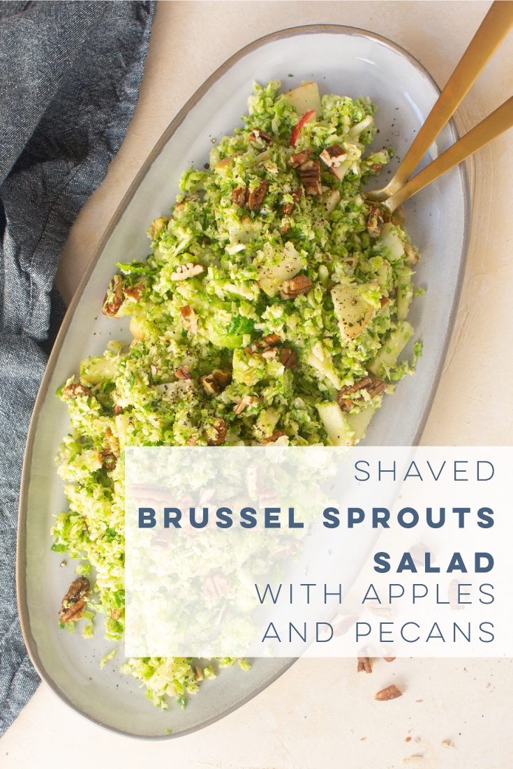 Shaved Brussel Sprout salad is the PERFECT healthy dish for any holiday. Lighten up Thanksgiving or Christmas with this quick and easy salad recipe. #vegan #vegetarian #brusselsprouts #shavedbrusselsprouts #fallsalad #thanksgivingsidehealthy | Mindful Avocado