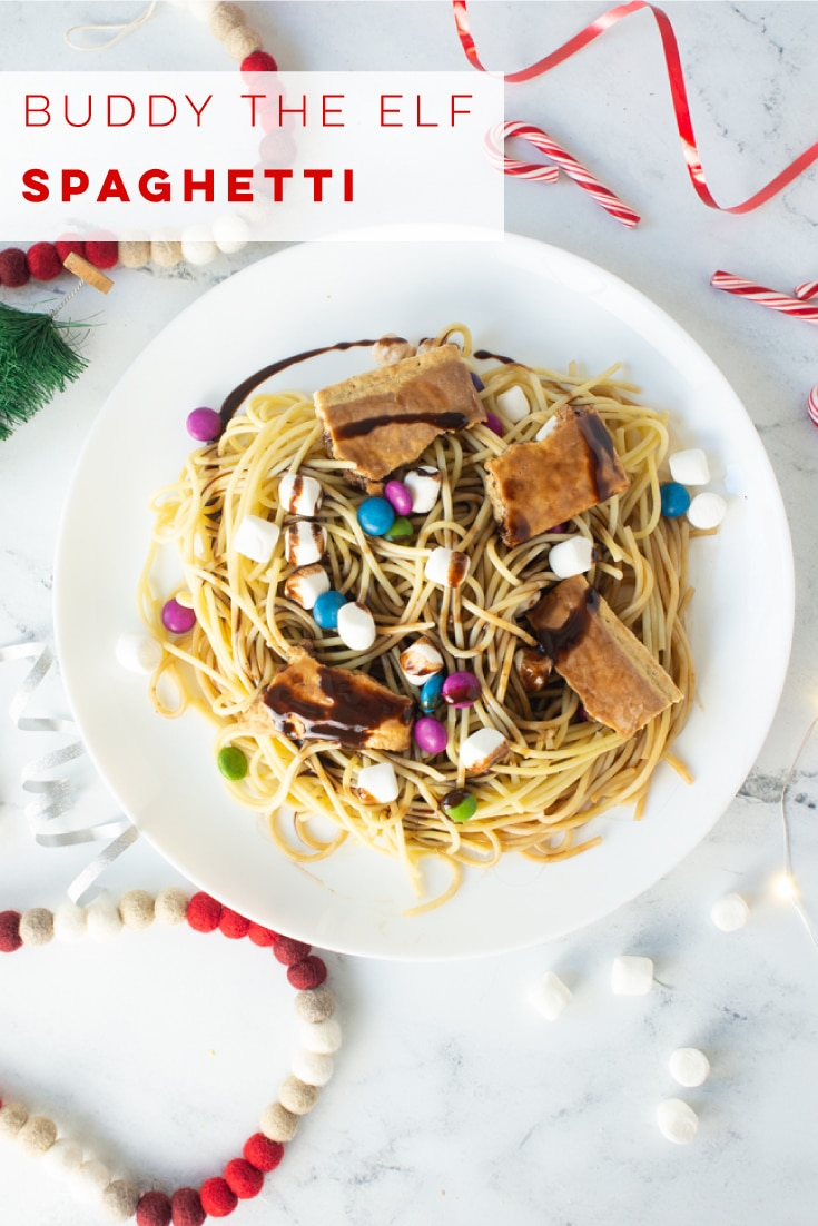 Buddy the Elf Spaghetti Recipe -- Sugar lover\'s rejoice! Learn to make the spaghetti our beloved Buddy the Elf makes in the Christmas movie Elf! Spaghetti topped with chocolate candies, marshmallows, chocolate syrup, maple syrup, and pop tarts! #buddytheelf #elfmovie #christmas #elfspaghetti #elfpasta | Mindful Avocado